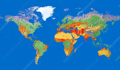 Risk of human-induced desertification, global map