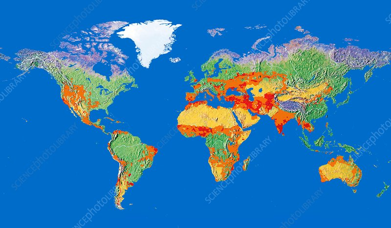 Risk Of Human Induced Desertification Global Map Stock Image