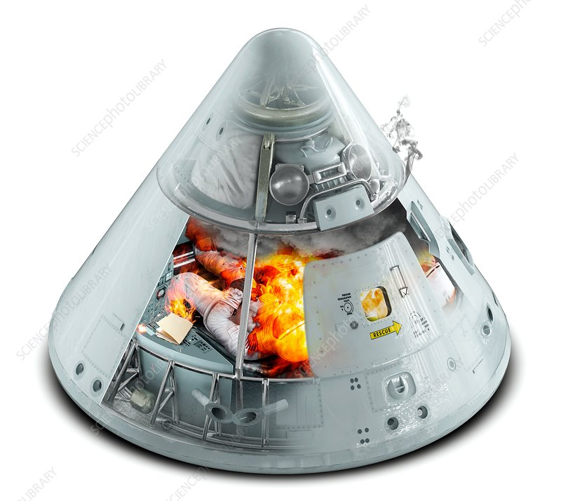 Apollo 1 command module fire, illustration