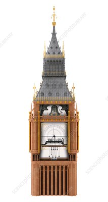 Big Ben clock tower and mechanism, illustration
