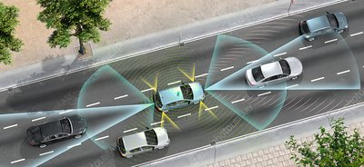 Driverless car technology, illustration
