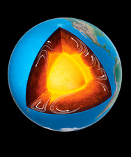 Mantle convection in the Earth's interior, illustration
