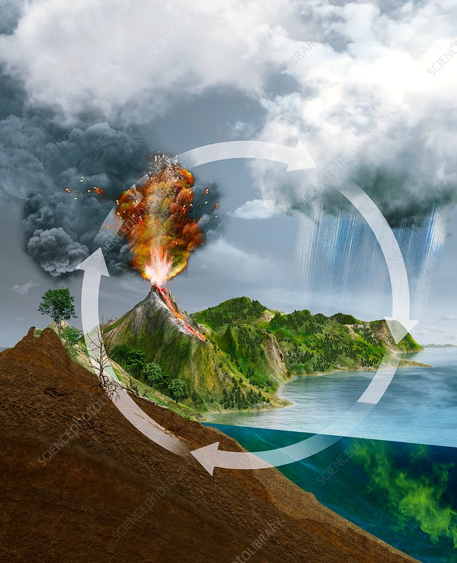 Natural carbon cycle, illustration