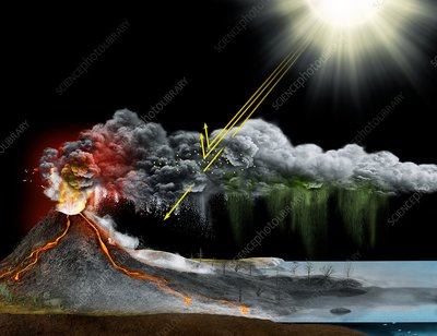 Volcanic winter, illustration