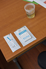 Urine multi-drug test kit and sample