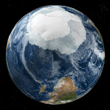 Antarctica and southern Africa, satellite image