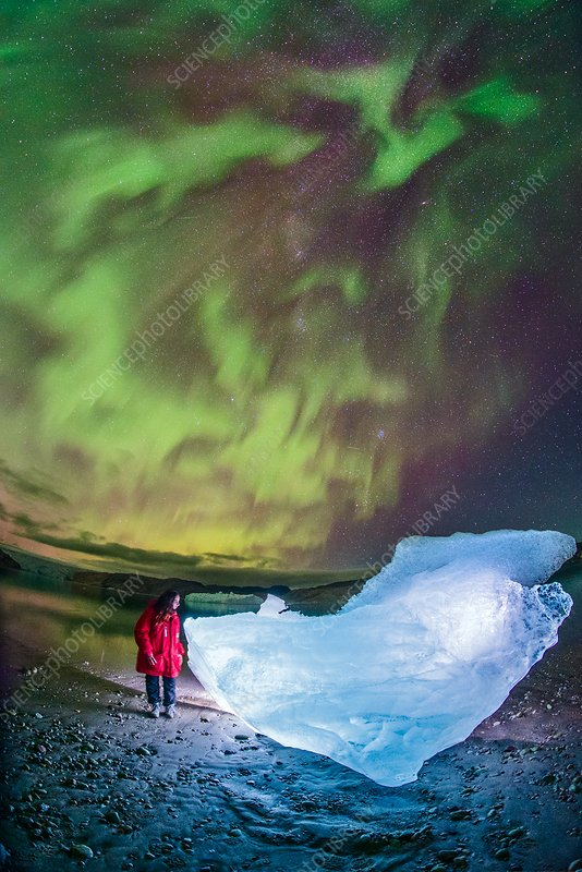 Aurora borealis over glacial ice, Greenland