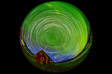 Aurora borealis and star trails, Greenland
