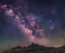 Milky Way over a castle