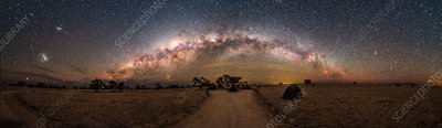 Milky Way over landscape in Namibia