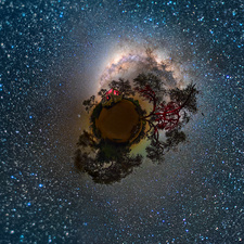 Night sky in Namibia, stereographic projection