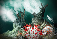 Black smoker hydrothermal vent, illustration