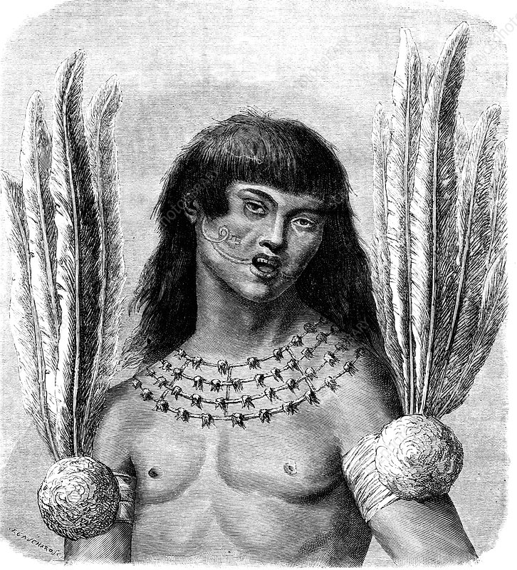 19th Century South American Ticuna man, illustration