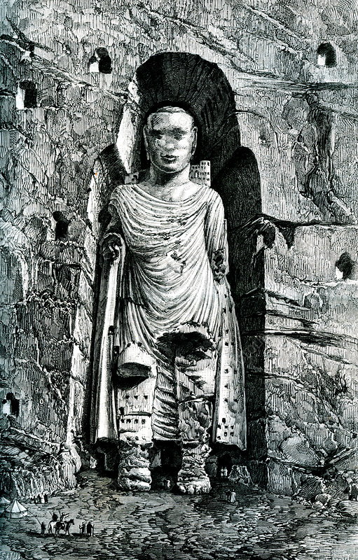 Buddha statue of Bamyan, Afghanistan, 19th C illustration