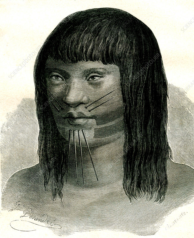 19th Century South American Marahua man, illustration