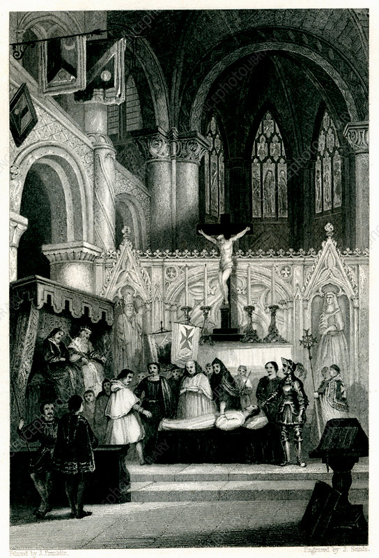 The Church and the Death, 19th Century illustration