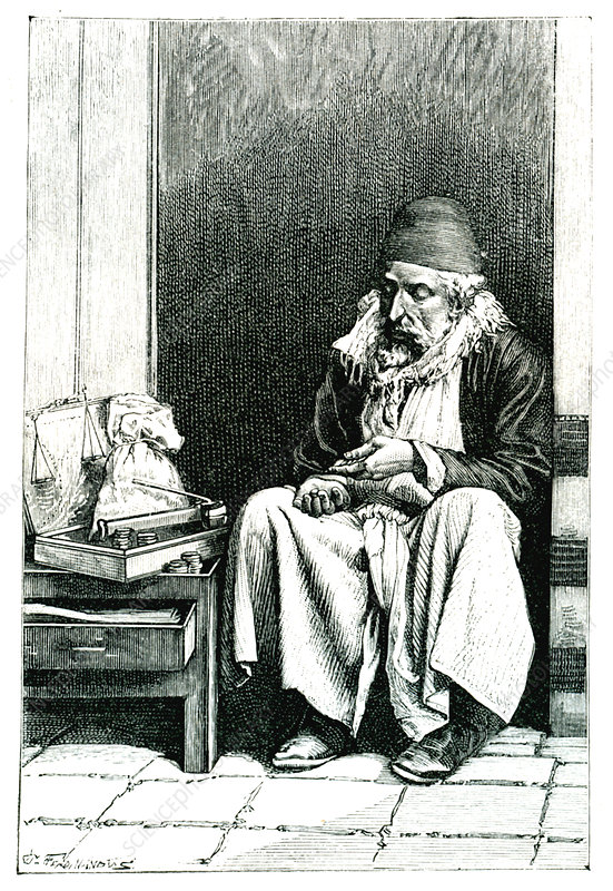 19th Century moneychanger in Jerusalem, illustration