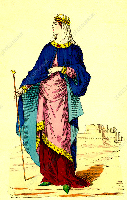 9th Century Carolingian woman, illustration