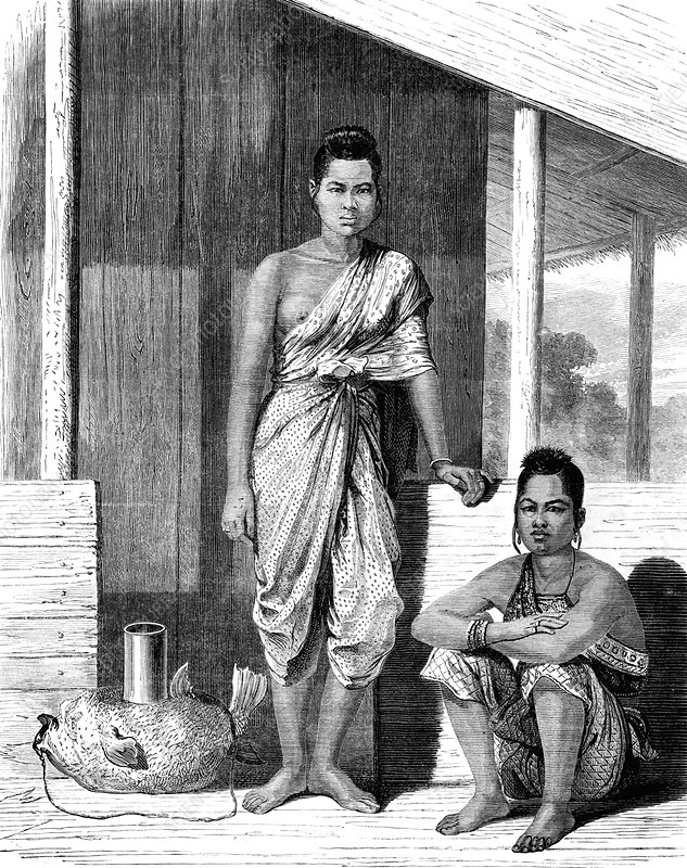 19th Century Thai women, illustration