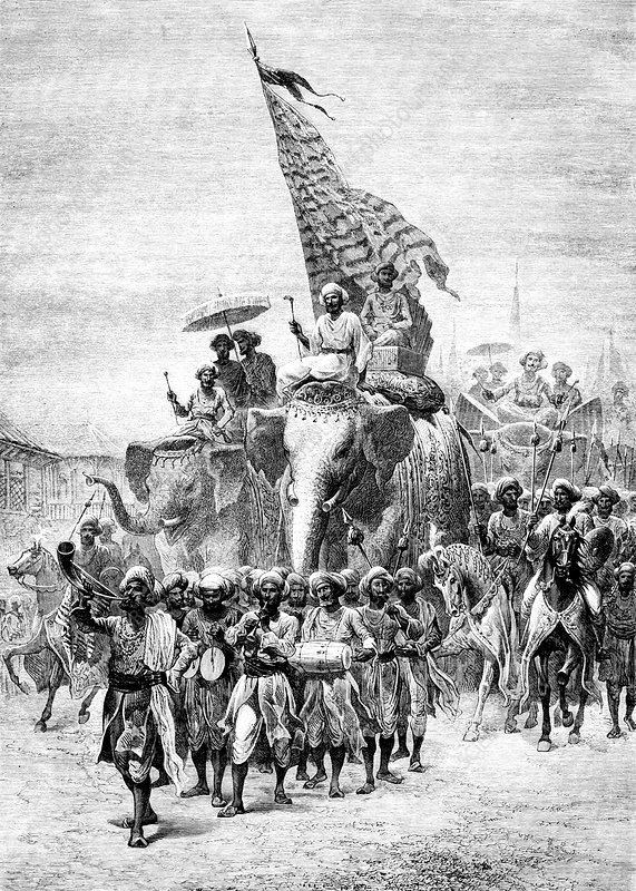 19th Century procession, Baroda, India, illustration