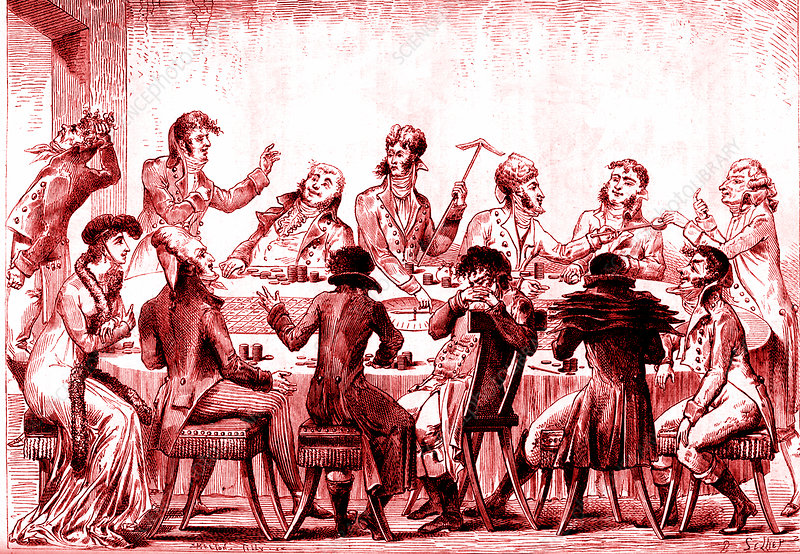 19th Century roulette players, illustration