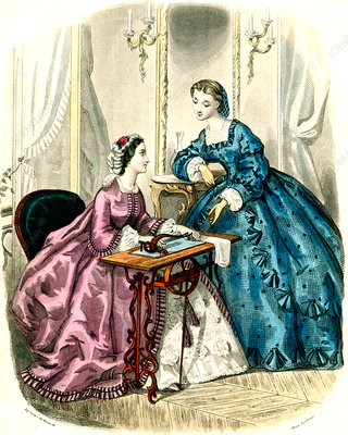 19th Century woman sewing, illustration