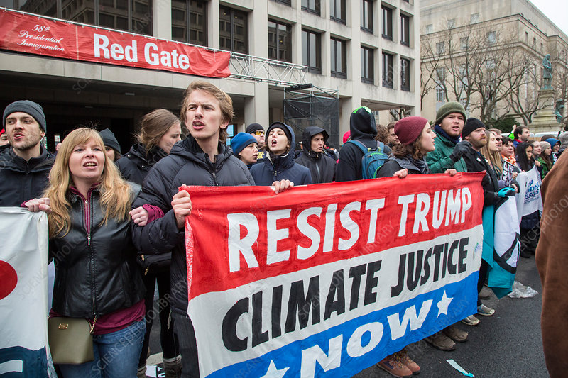 Climate protesters at Trump inauguration, January 2017