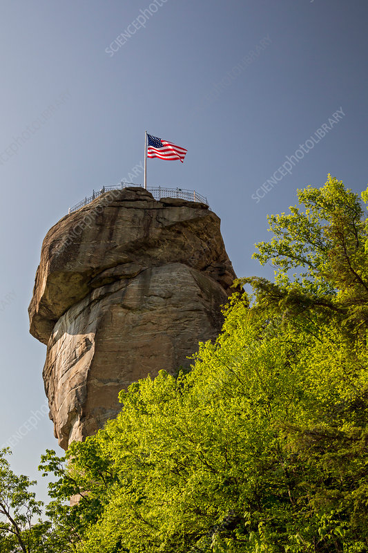Chimney Rock spire and flag