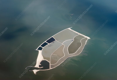 Artificial lake island, aerial photograph