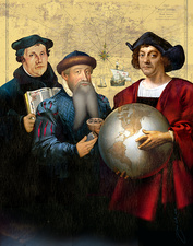Luther, Gutenberg and Columbus, illustration