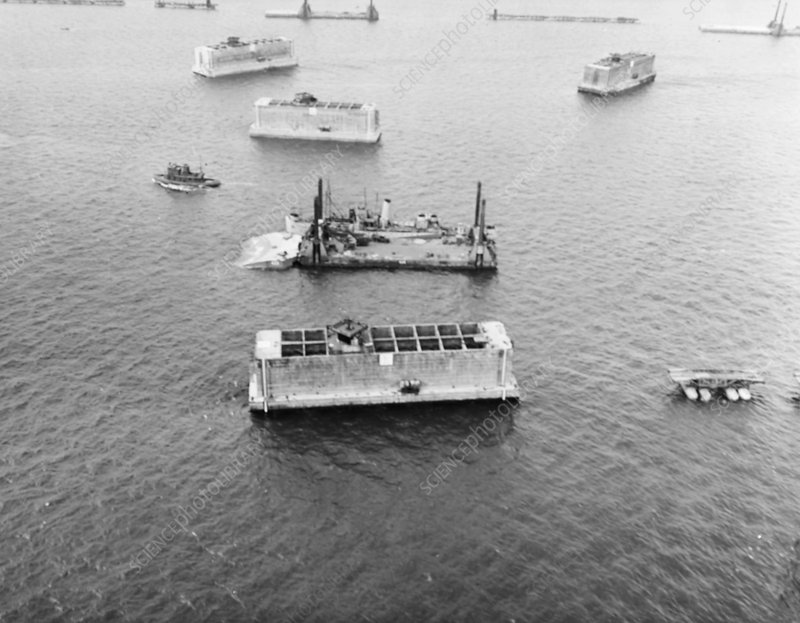 Caissons off Normandy invasion beaches, June 1944