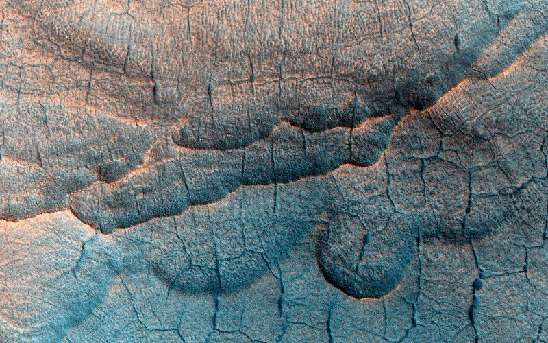 Thermokarst landscape on Mars, MRO image