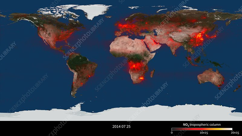 Global nitrogen dioxide levels, July 2014