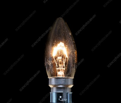 Tungsten filament candle light bulb