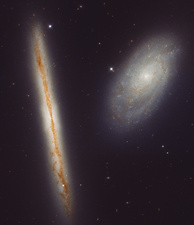 Spiral galaxies NGC 4302 and NGC 4298, infrared HST image