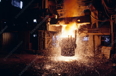 Steel casting in a blast furnace