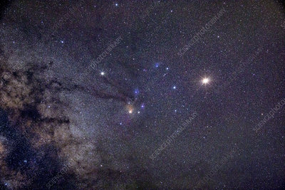 Mars and Saturn near Antares and Star Clusters