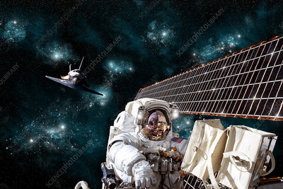 Astronaut Working on Space Station Solar Array