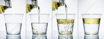 Pouring oil into water