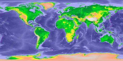 GLOBE world map with bathymetry