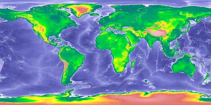 Globe World Map Showing Ice Age Sea Levels Stock Image C036