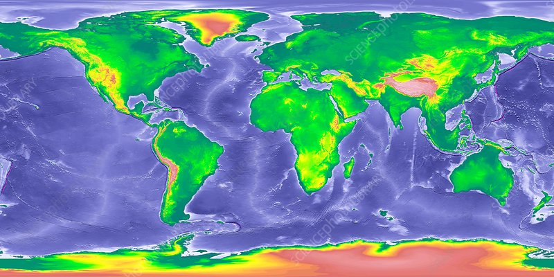 globe world map showing ice age sea levels