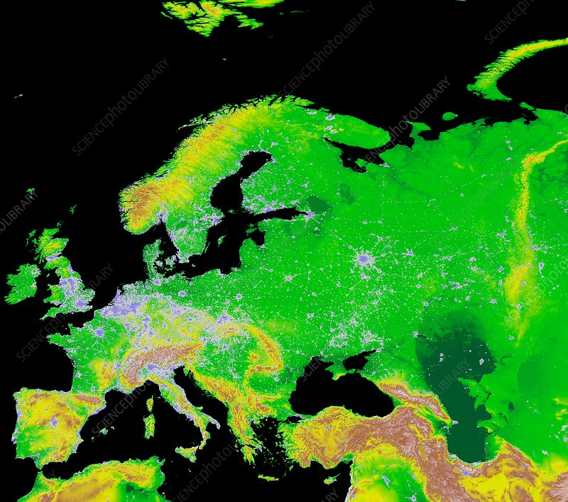 Europe and city lights, GLOBE map
