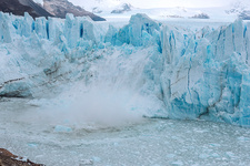 Ice calving from a glacier