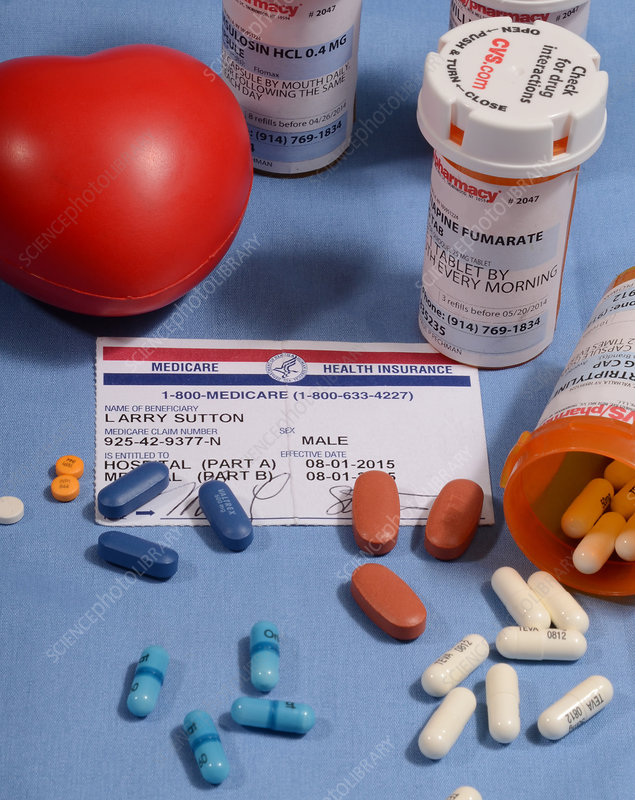 Medicare Card and Pill Bottles