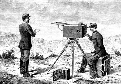 19th Century French army telegraph, illustration