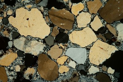 Sandstone in chalcedony matrix, polarised light micrograph