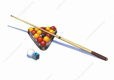 Pool cue and balls, illustration