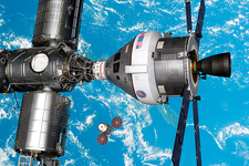 Crew exploration vehicle docked with ISS, illustration