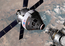 Crew exploration vehicle docking with ISS, illustration